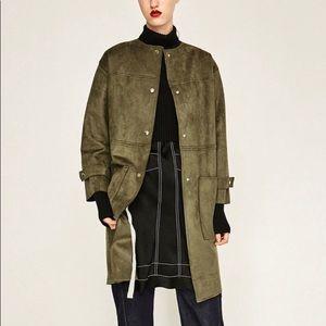 Zara khaki suede style jacket. Size S